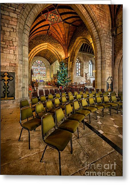 Trees Light Windows Greeting Cards - Cathedral Christmas Greeting Card by Adrian Evans