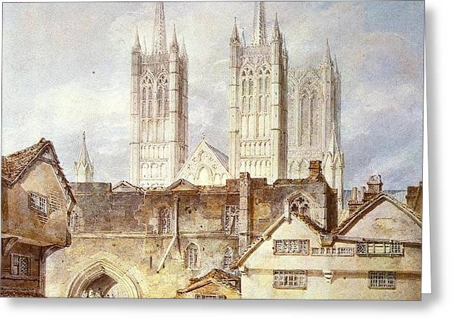 Cathedral church at Lincoln 1795 Greeting Card by Joseph Mallord William Turner