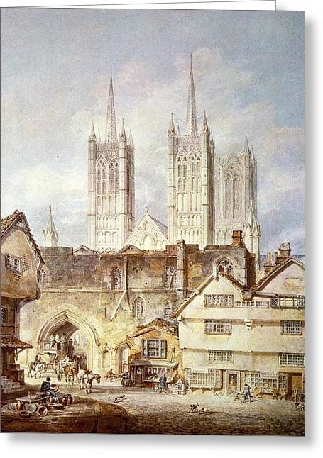Painter Of Light Greeting Cards - Cathedral church at Lincoln 1795 Greeting Card by J M W Turner