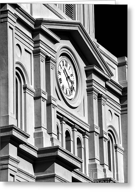 St. Louis Artist Greeting Cards - Cathedral Clock Greeting Card by John Rizzuto