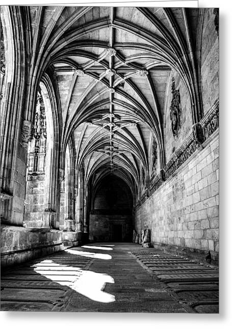 Pilgram Greeting Cards - Santiago Cathedral Cloisters Greeting Card by Justin Murazzo