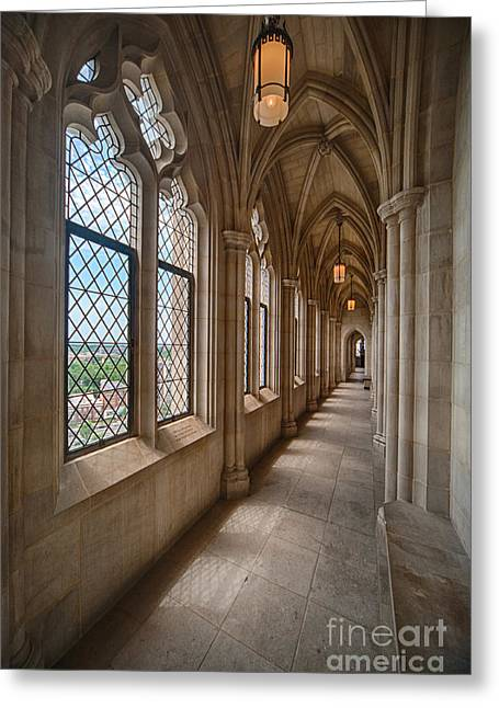 Neogothic Greeting Cards - Cathedral Corridor II Greeting Card by Ray Warren