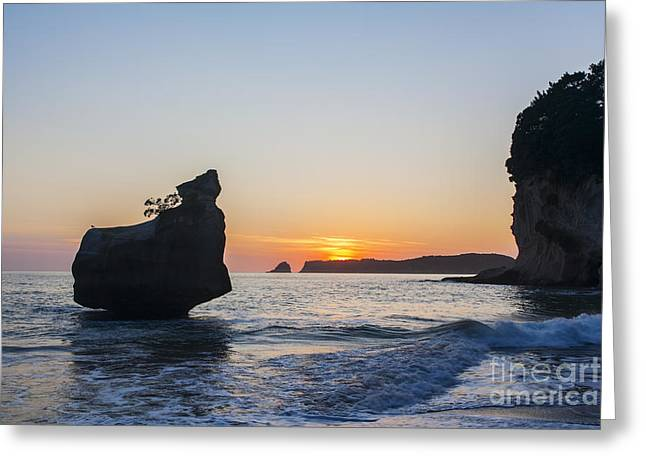 Stack Rock Greeting Cards - Cathedral Cove Coromandel New Zealand Greeting Card by Colin and Linda McKie