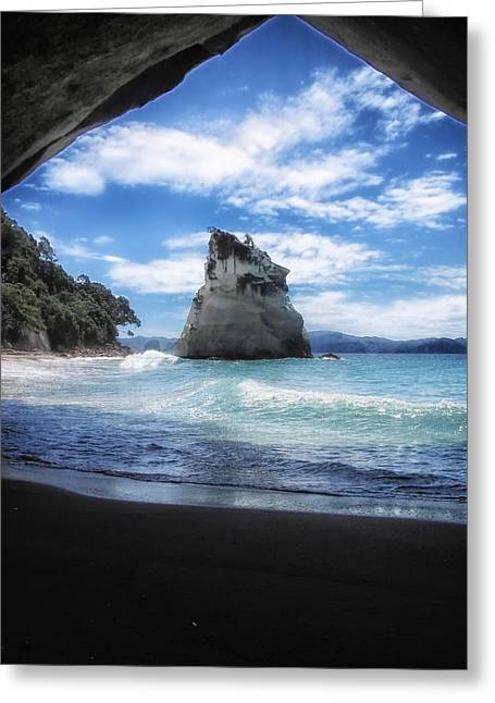Cathedral Rock Greeting Cards - Cathedral Cove in New Zealand Greeting Card by Mountain Dreams