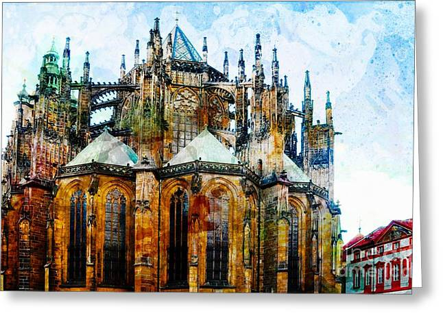Medieval Temple Digital Greeting Cards - Cathedral Greeting Card by Daniela White