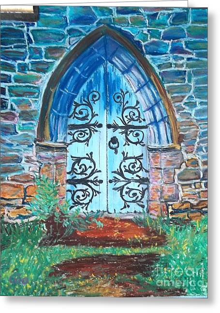 Iron Pastels Greeting Cards - Cathedral Door in Brecon  Greeting Card by Frank Giordano