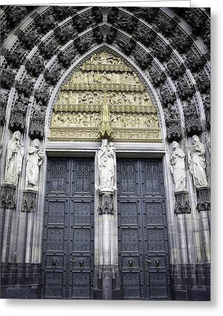 Medieval Entrance Greeting Cards - Cathedral Doors West Entrance Greeting Card by Teresa Mucha