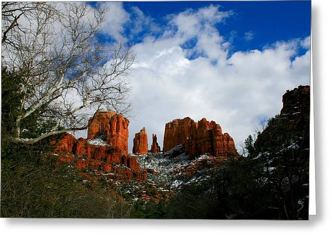Cathedral Rock Greeting Cards - Cathedral Dusting Greeting Card by Miles Stites