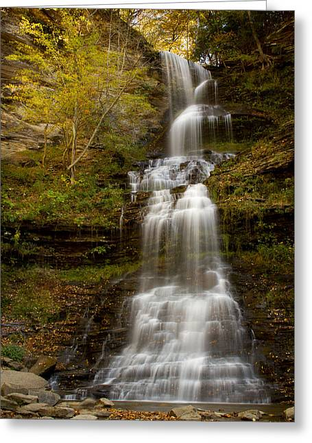 Grist Mill Greeting Cards - Cathedral Falls 2011 Autumn Greeting Card by Nathaniel Kidd