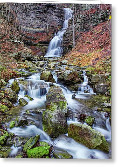 Cathedral Falls In Autumn Greeting Card by Mary Almond