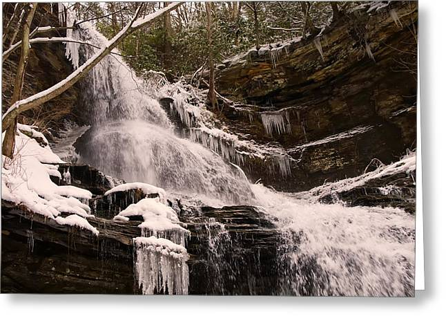 Waterfall Image Greeting Cards - Cathedral falls top winter Greeting Card by Chris Flees