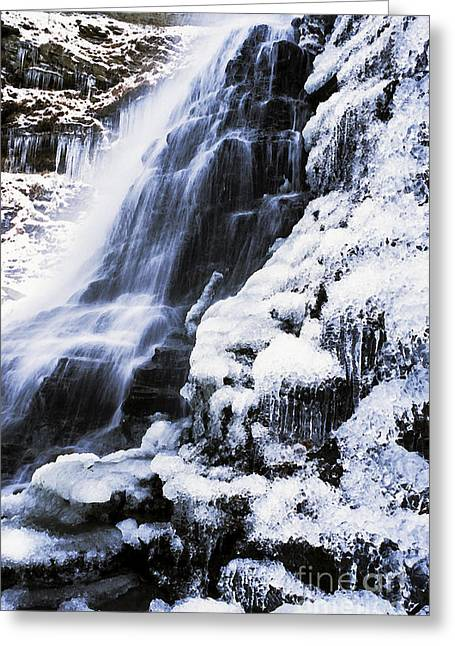 Allegheny Mountains Greeting Cards - Cathedral Falls Winter Greeting Card by Thomas R Fletcher
