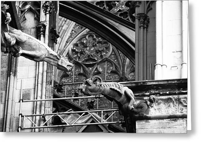 Drain Greeting Cards - Cathedral Gargoyle 12 Greeting Card by Teresa Mucha