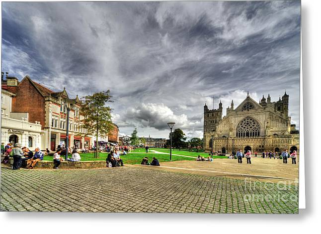 Exeter Greeting Cards - Cathedral Green  Greeting Card by Rob Hawkins