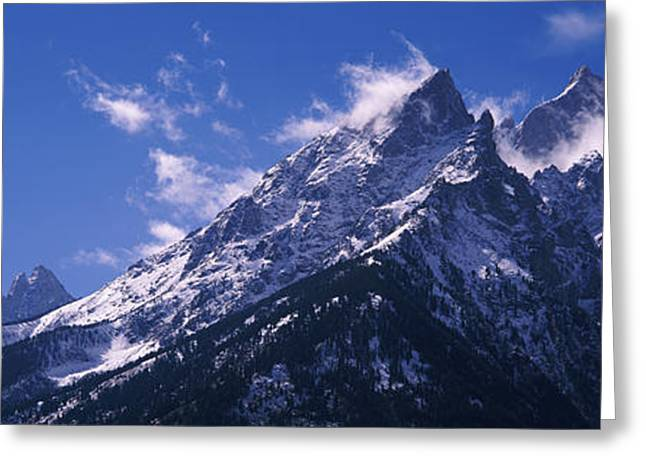 Snowy Day Greeting Cards - Cathedral Group Grand Teton National Greeting Card by Panoramic Images
