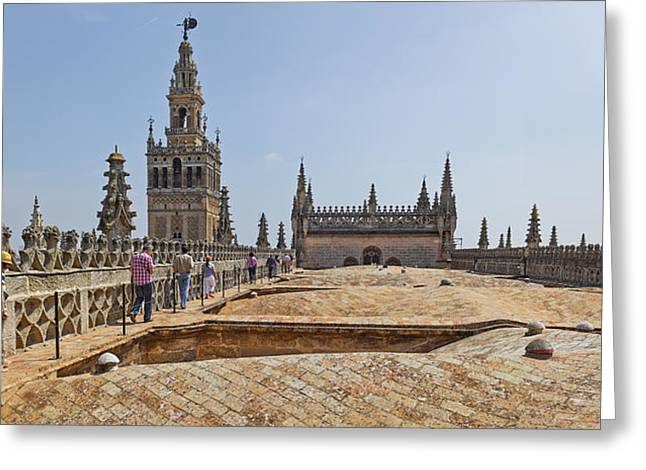 Medium Group Of People Greeting Cards - Cathedral In A City, Seville Cathedral Greeting Card by Panoramic Images