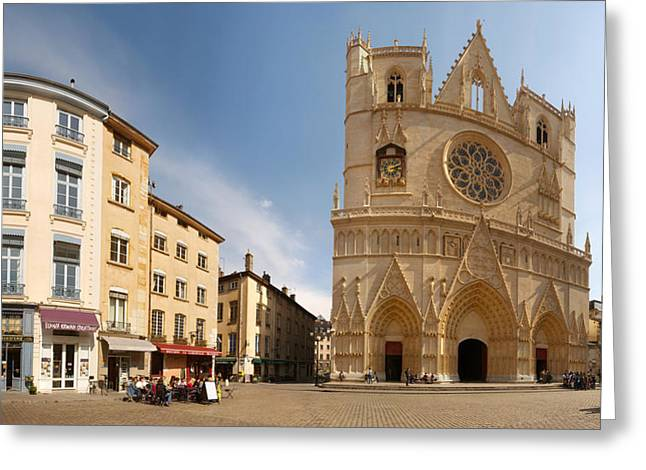 Lyon Greeting Cards - Cathedral In A City, St. Jean Greeting Card by Panoramic Images