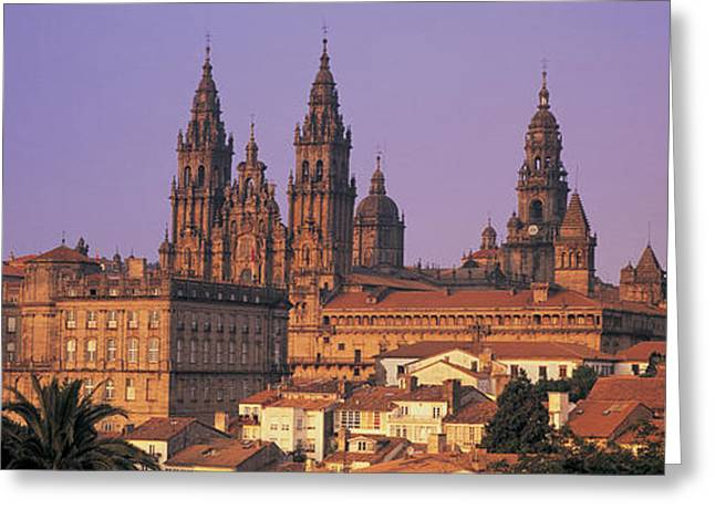 Galicia Greeting Cards - Cathedral In A Cityscape, Santiago De Greeting Card by Panoramic Images