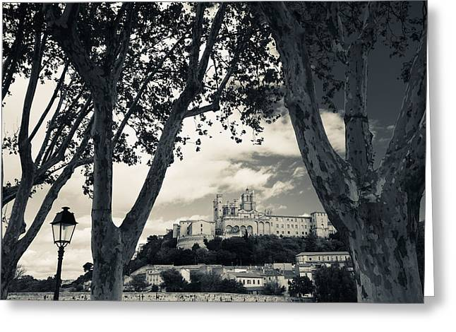 Languedoc Greeting Cards - Cathedral In A Town, Cathedrale Greeting Card by Panoramic Images