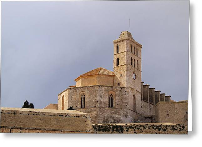 Dalt Greeting Cards - Cathedral in Ibiza Town Greeting Card by Karol Kozlowski