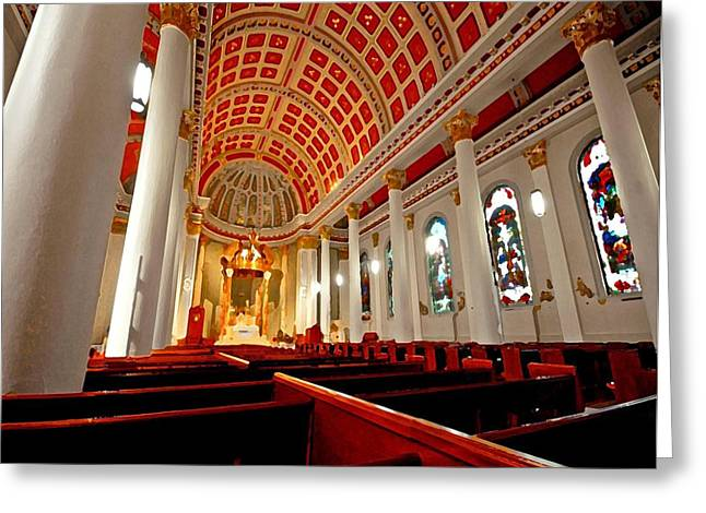 Ceiling Mobile Greeting Cards - Cathedral Inside Greeting Card by Michael Thomas