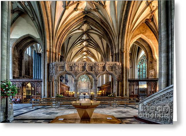 Vaulted Ceilings Greeting Cards - Cathedral Interior Greeting Card by Adrian Evans