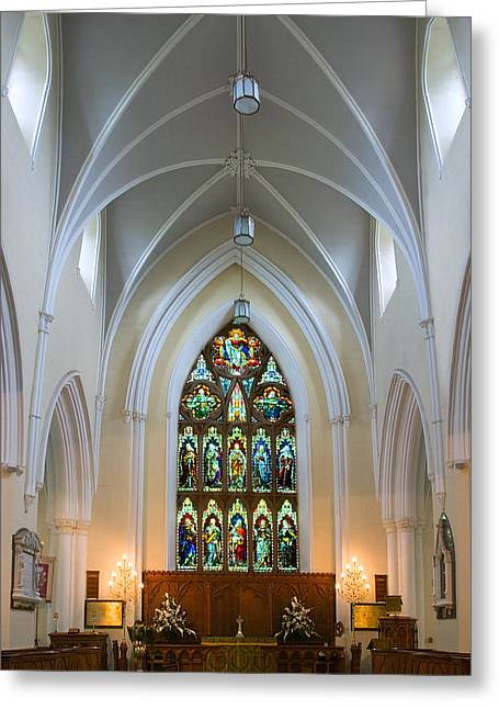 Episcopalian Greeting Cards - Cathedral Interior Greeting Card by Jane McIlroy