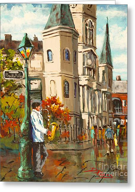 St. Louis Cathedral Greeting Cards - Cathedral Jazz Greeting Card by Dianne Parks