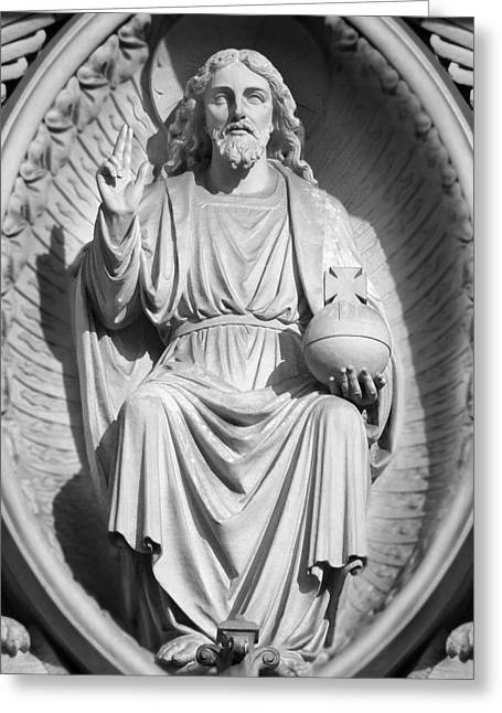 Carved Stone Greeting Cards - Cathedral Man Greeting Card by Mike McGlothlen