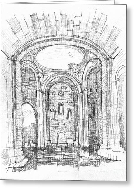 Byzantine Drawings Greeting Cards - Cathedral of Ani Greeting Card by Peut Etre