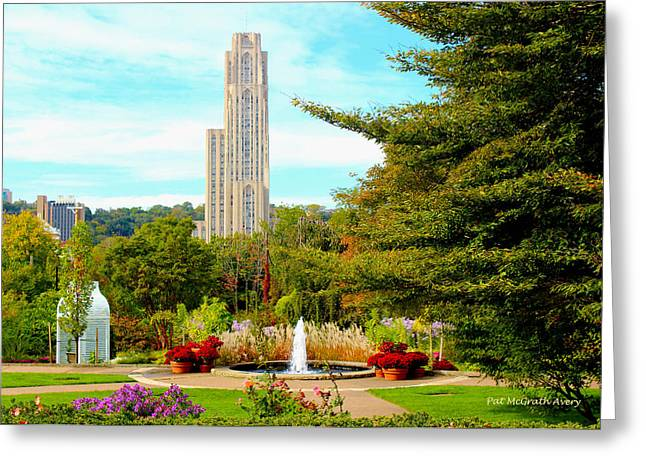 Phipps Conservatory Greeting Cards - Cathedral of Learning Greeting Card by Pat McGrath Avery