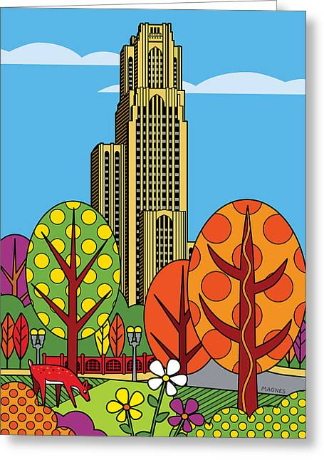 Duke Greeting Cards - Cathedral of Learning Greeting Card by Ron Magnes