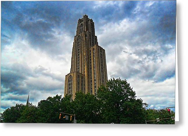 Cathedral Of Learning Greeting Card by S Patrick McKain