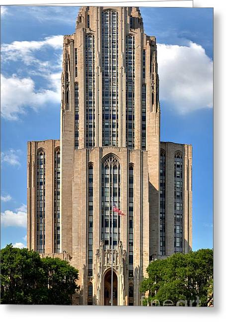 Cathedral Of Learning Greeting Cards - Cathedral Of Learning Vertical Panorama Greeting Card by Adam Jewell