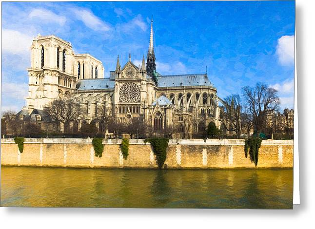 Francais Greeting Cards - Cathedral of Notre Dame de Paris On the Seine Greeting Card by Mark Tisdale