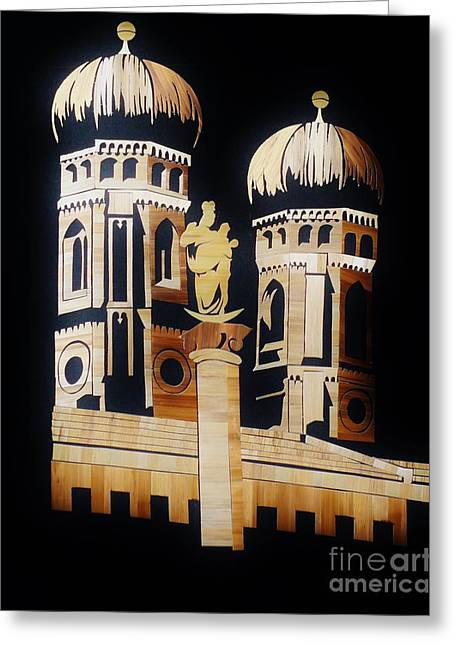 Deutschland Mixed Media Greeting Cards - Cathedral in Munich Greeting Card by Straw Art