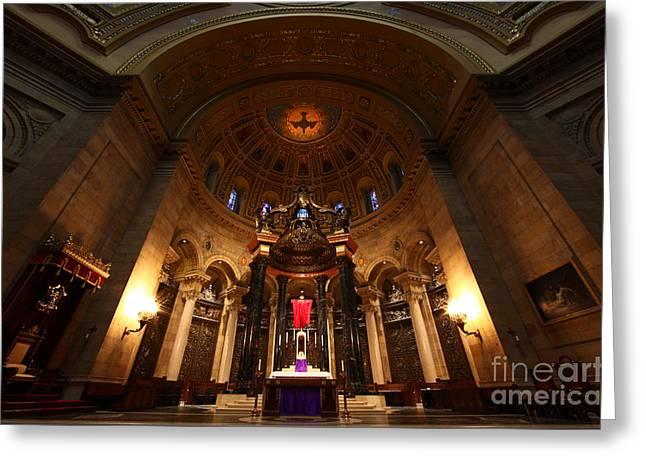 Moran Greeting Cards - Cathedral of Saint Paul Preparing for Easter Greeting Card by Wayne Moran