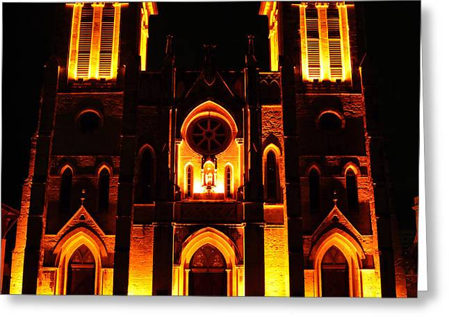 Texas Greeting Cards - Cathedral of San Fernando at Night in San Antonio Texas Square Format Greeting Card by Shawn O