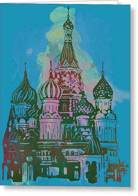 Red Buildings Mixed Media Greeting Cards - Cathedral of St Basil  Kremlin Moscow  - pop stylised art poster  Greeting Card by Kim Wang