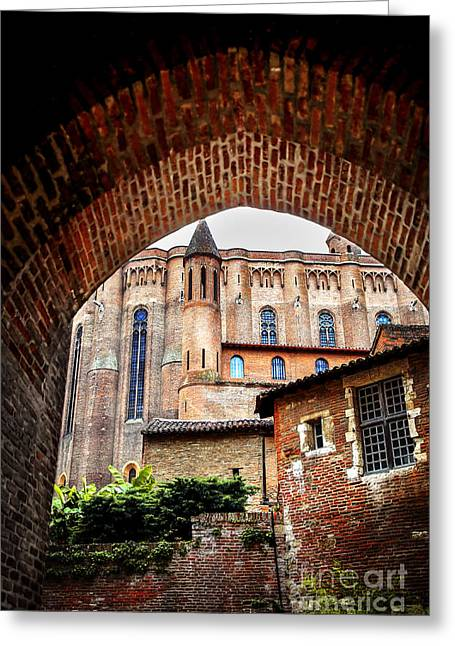 Red Buildings Greeting Cards - Cathedral of Ste-Cecile in Albi France Greeting Card by Elena Elisseeva