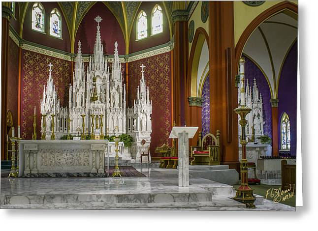Diocese Of Rome Greeting Cards - Cathedral Of The Holy Family 2 Greeting Card by F Leblanc