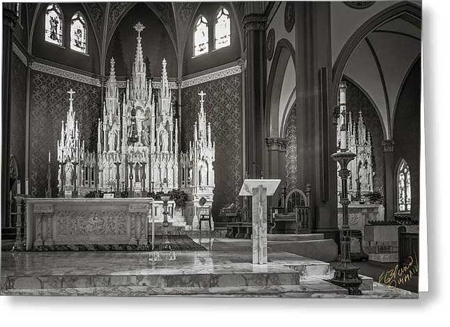 Diocese Of Rome Greeting Cards - Cathedral Of The Holy Family 2 - Monochrome Greeting Card by F Leblanc
