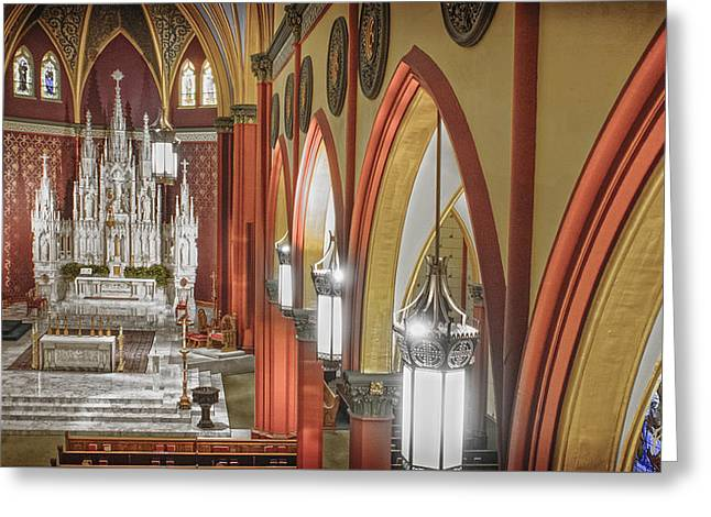 Diocese Of Rome Greeting Cards - Cathedral Of The Holy Family 3 Greeting Card by F Leblanc