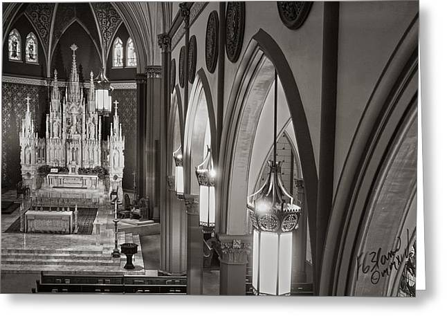 Diocese Of Rome Greeting Cards - Cathedral Of The Holy Family 3 - Monochrome Greeting Card by F Leblanc