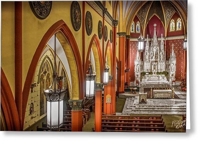 Diocese Of Rome Greeting Cards - Cathedral Of The Holy Family 4 Greeting Card by F Leblanc