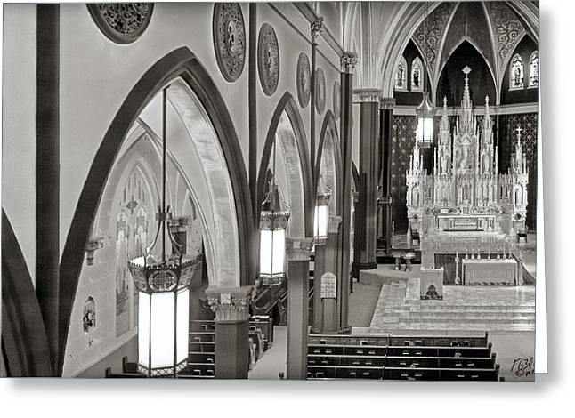 Diocese Of Rome Greeting Cards - Cathedral Of The Holy Family 4 - Monochrome Greeting Card by F Leblanc