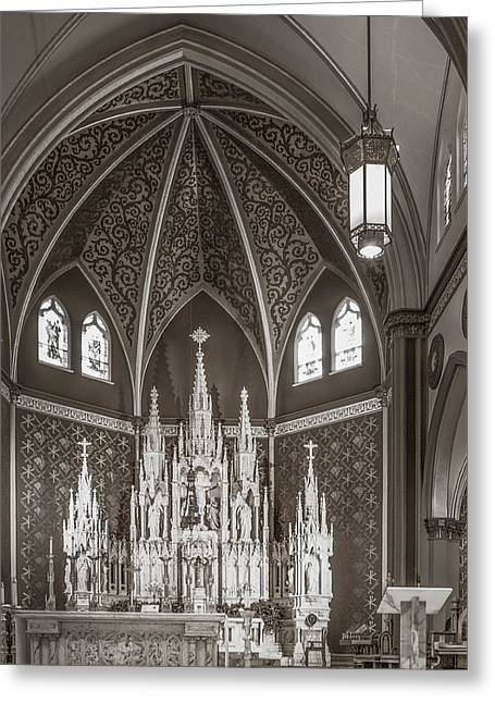 Diocese Of Rome Greeting Cards - Cathedral Of The Holy Family 7 - Monochrome Greeting Card by F Leblanc