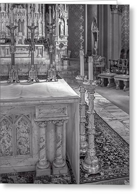 Cathedral Of The Holy Family 8 - Monochrome Greeting Card by F Leblanc