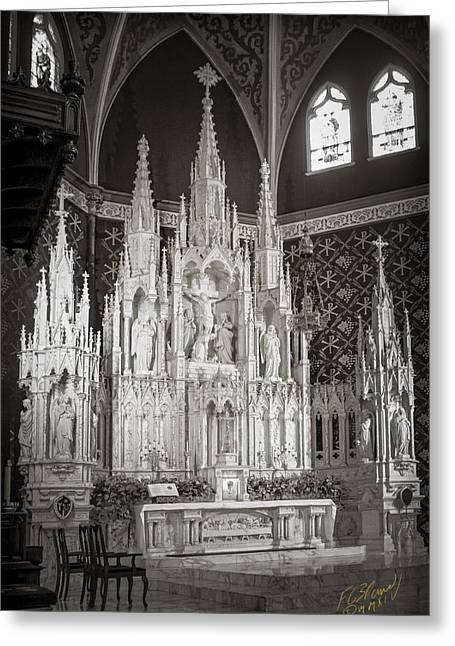 Diocese Of Rome Greeting Cards - Cathedral Of The Holy Family - Monochrome Greeting Card by F Leblanc