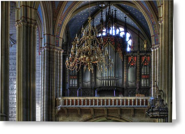 Pipe Organ Greeting Cards - Cathedral Organ Greeting Card by Douglas J Fisher